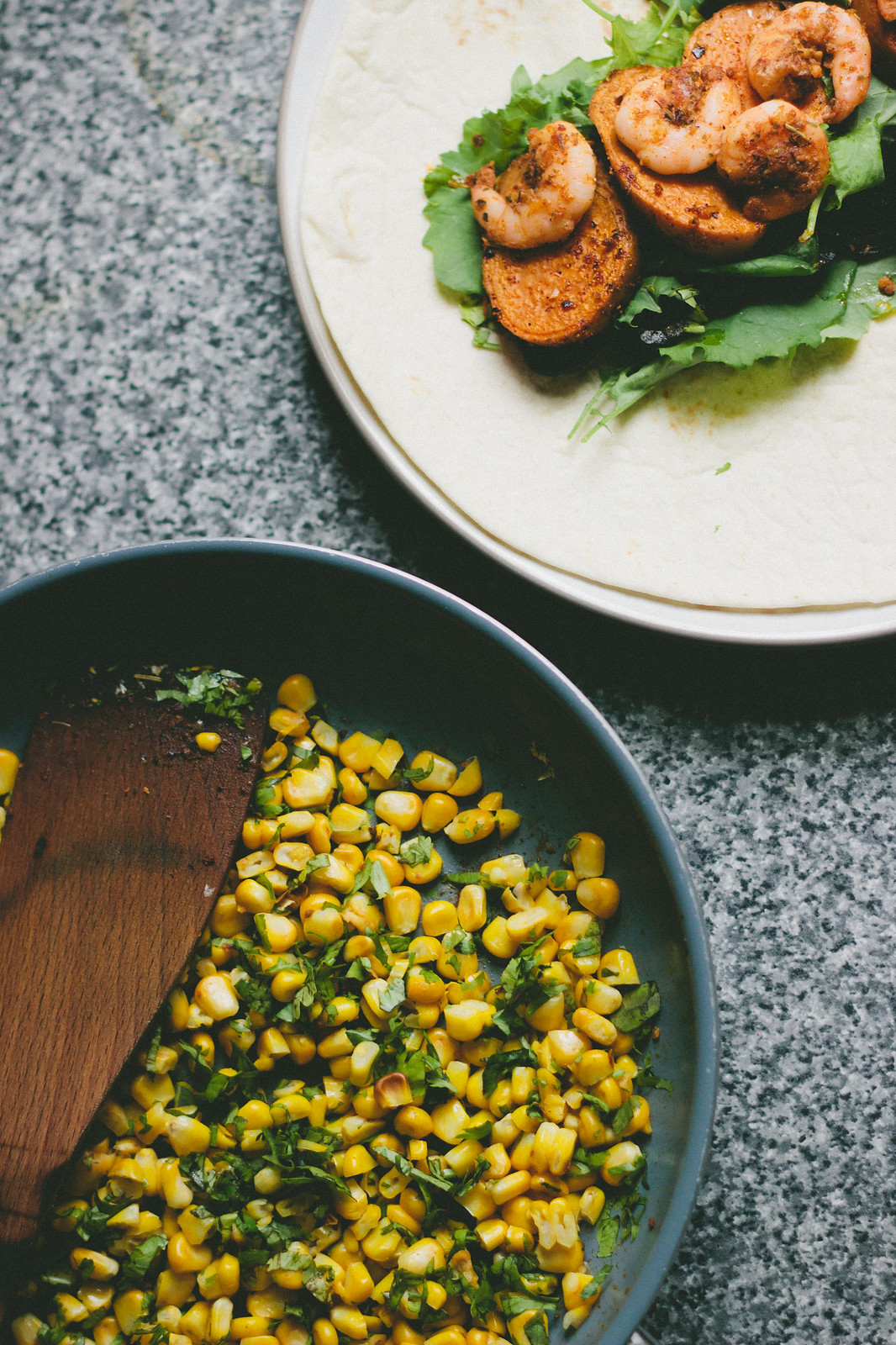 {sweet potato-prawn burrito with warm corn salsa} via chevrons & éclairs