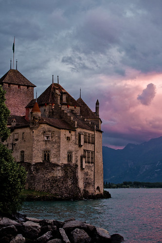 Sunset and clouds - Chillon Castle