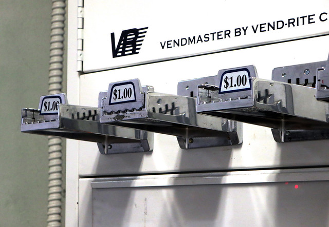 Vendmaster soap vending machine at laundromat.  (2013)