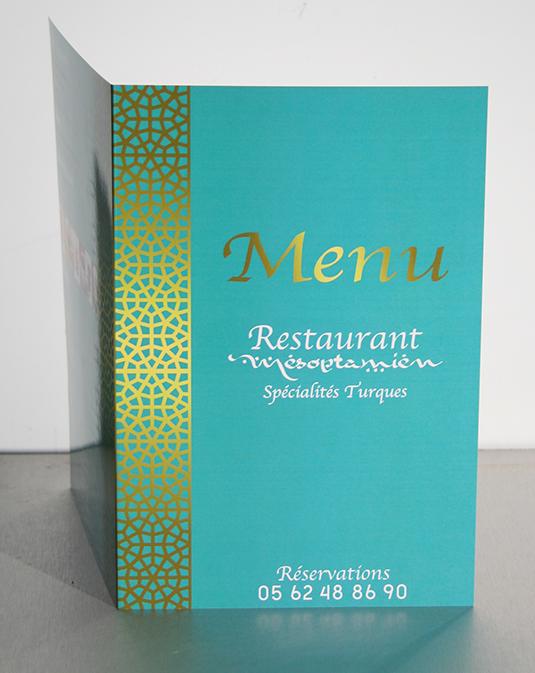 Création et façonnage des meus du restaurant Mésopotamien à Tournefeuille (31).