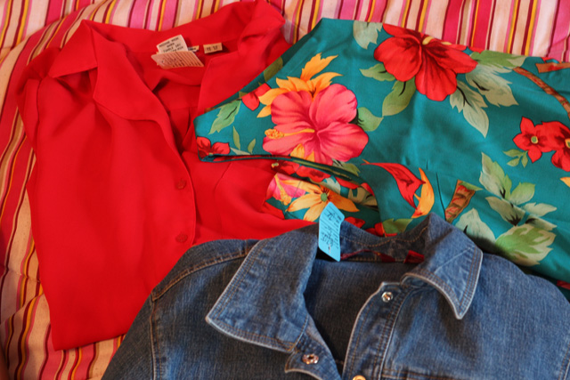 Jean Jacket, Red Blouse, Tropical Print Dress