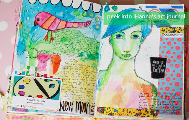 Art Journal Peek: Bird and writing