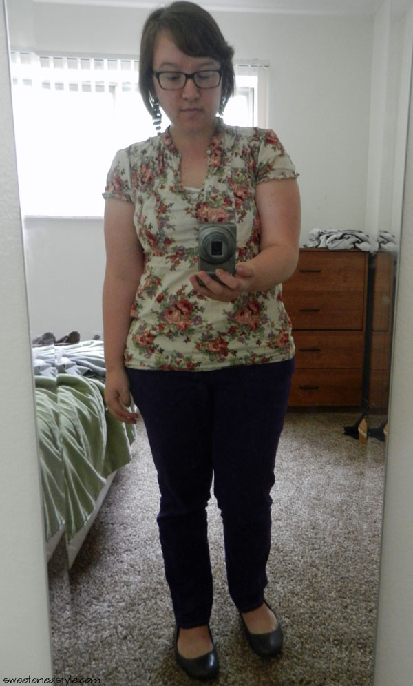 floral top, purple jeans