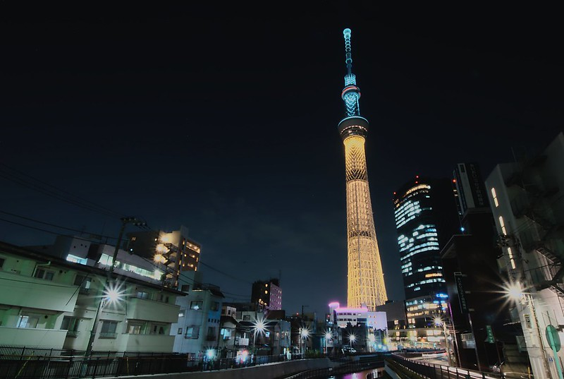 Tokyo Sky Tree Olympic gold color 2020
