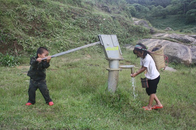 Kids playing at Village water point, Sialsuk, Mizoram.