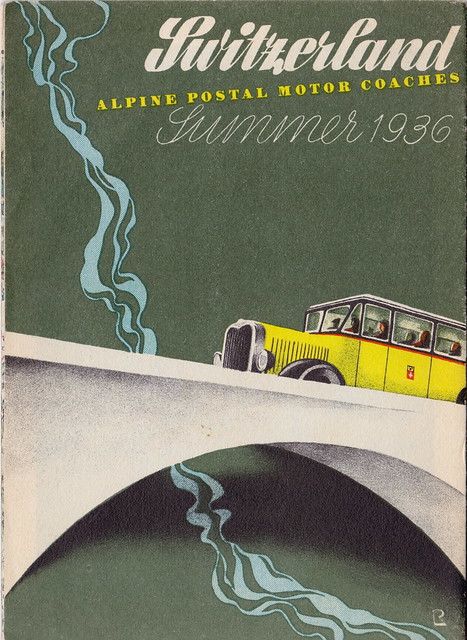 Switzerland - Alpine Postal Motor Coaches route map and guide - Summer 1936