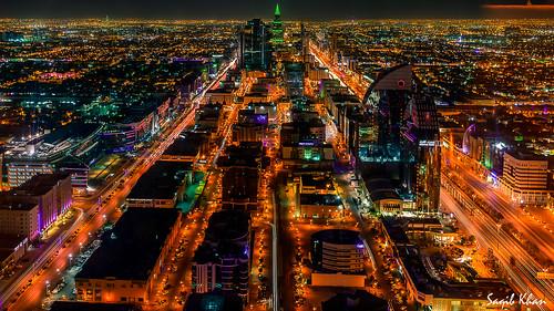 aerialview riyadh saudiarabia hdr lightstreaks kingdomtower digitalblending faisaliahtower kingfahadroad olayastreet orubastreet