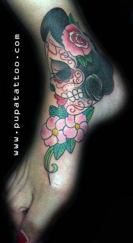 Tatuaje Calavera flores, Pupa Tattoo Granada by Marzia PUPA Tattoo