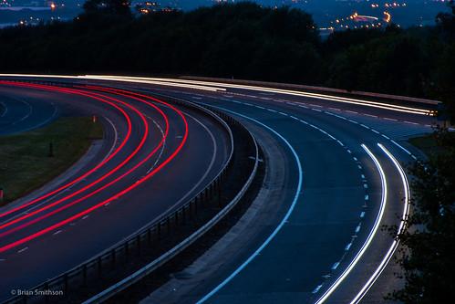 england cars evening miltonkeynes unitedkingdom curves headlights lighttrails ontheroad taillights lightandshade littlebrickhill
