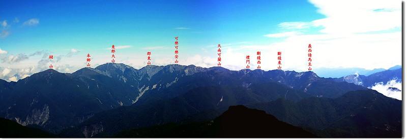 南三段群峰(From 馬利加南北望).