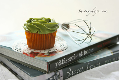 Yellow butter cupcake with Matcha buttercream flavour