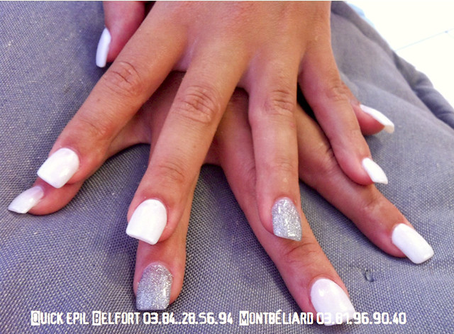 Ongle French Blanche Nacre Gris Paillette Quick Epil Proep Flickr Photo Sharing