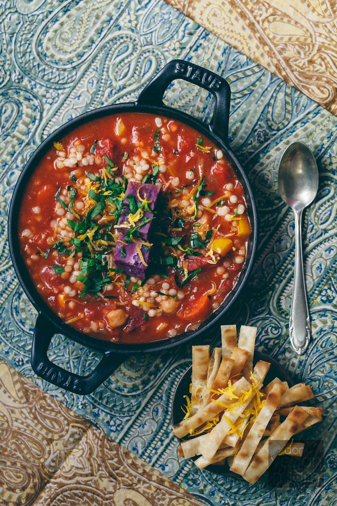 Mediterranean Harissa Stew with Purple Sweet Potato