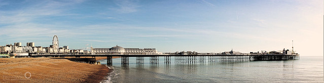 "Brighton's Palace Pier.  4 Shot Hand Held Panorama processed in PTGui.  <a href=""http://hexagoneye.com"" rel=""noreferrer nofollow"">hexagoneye.com</a>"