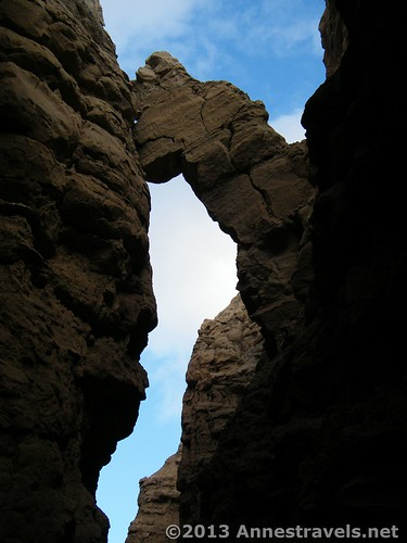 A rock overhangs The Slot, Anza-Borrego Desert State Park, California