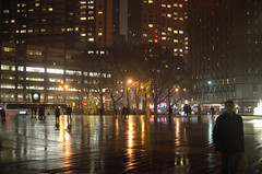 New York City Streetscape - Rainy Night, Plaza at Lincoln Center