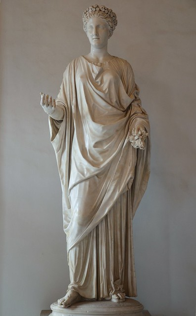Flora, the goddess of flowers and the season of spring, Roman artwork from the Imperial period with some modern alterations, from Hadrian's Villa, Palazzo Nuovo, Capitoline Museums