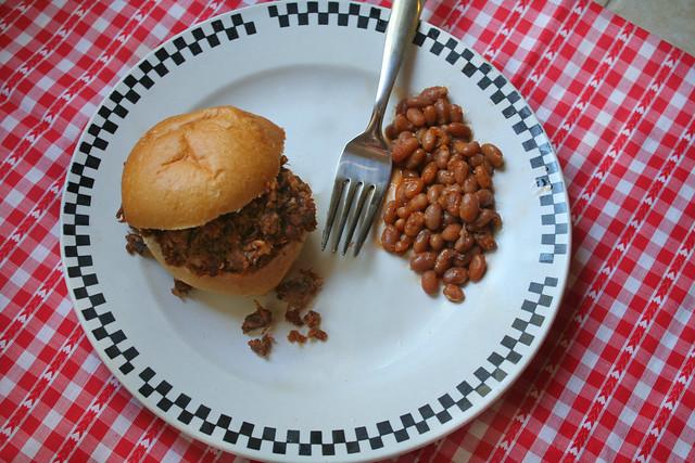 Shredded BBQ Sliders and Beans