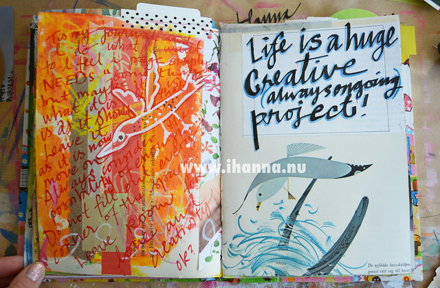 Art journal spread: Life is a huge creative project