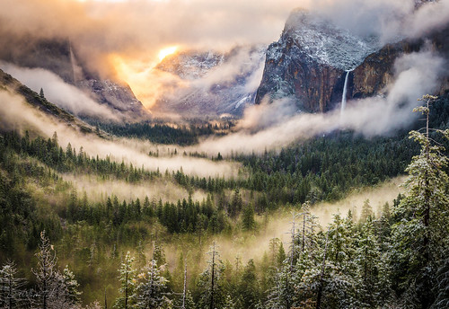 """""""A clearing winter storm"""" photo by William Toti captures the famous Tunnel  View of Yosemite National Park in the morning."""