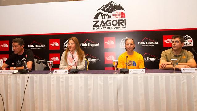 Από αριστερά: ο Τεχνικός Διευθυντής του The North Face Zagori Mountain Running, κ. Βασίλειος Τζουμάκας, η νικήτρια του The North Face Zagori Mountain Running 2013, στην κατηγορία των γυναικών, κα. Μάρα Καλογήρου, ο νικητής του The North Face Zagori Mountain Running Terra 2013, κ. Νίκος Καλοφύρης, ο Brand Manager της The North Face, κ. Μανώλης Μαυροειδής