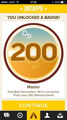 200 unique beers on untapped