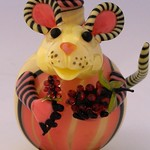 Nancy Nagel; Raspberry Mouse Perfume Bottle; Lampworked glass; 4x3x3; 2015 -