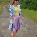 Not Dressed As Lamb | Blue floral trench, yellow tank, purple flare midi skirt