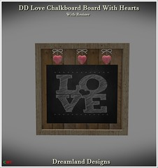 DD Love Chalkboard Board With Hearts Vendor