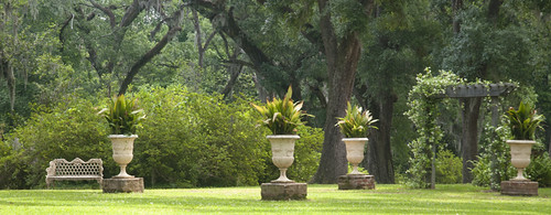 urns on lawn