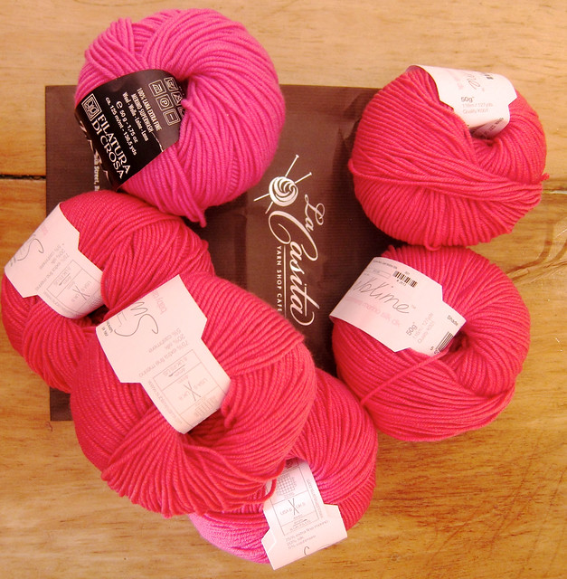 Candy pink DK yarns...