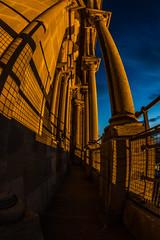 La haute tour de la cathédrale de Lausanne de nuit