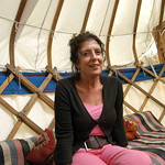 Anita Roddick relaxing in the Authors Yurt |