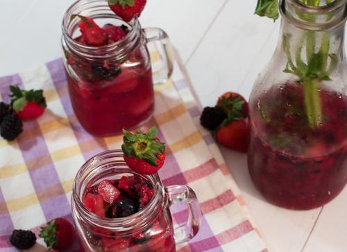 Mixed Berry Basil Lemonade