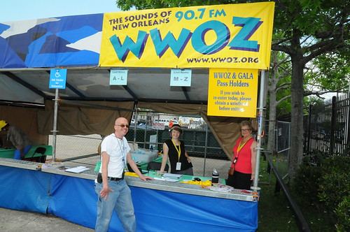 Molly Cobb and Bonnie Cochran at the WWOZ Brass Pass will call booth.
