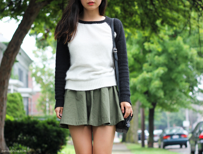baseball tee and flare skirt