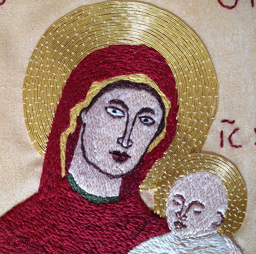Theotokos embroidery detail