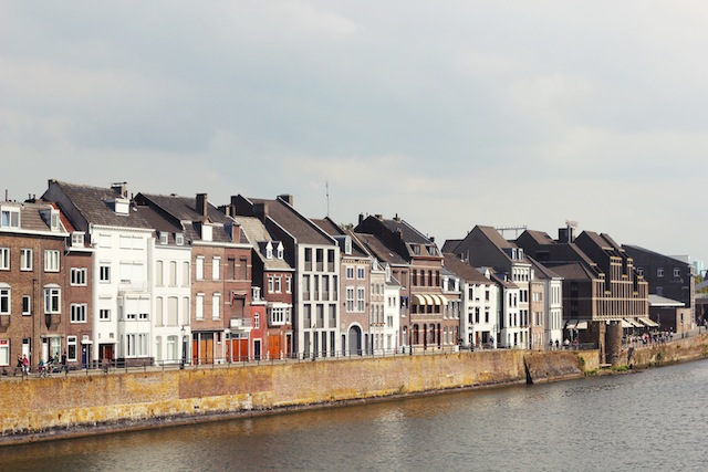 Maastricht houses along river