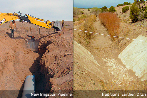 Residents of the Santo Domingo Pueblo in New Mexico worked with NRCS to run an efficient underground irrigation pipeline.