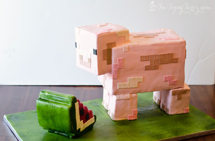 minecraft-cake-tutorial-pig-watermelon