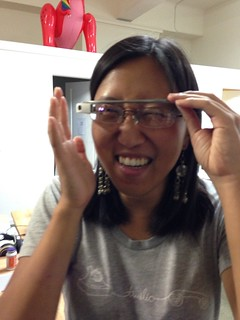 Judy tries out Google Glass