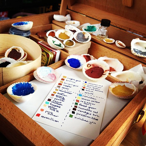 Today is about mixing pigments and making a reference sheet.