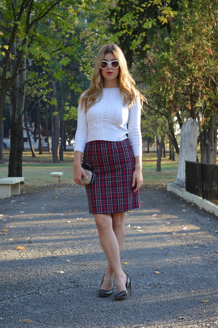 check skirt white top 11