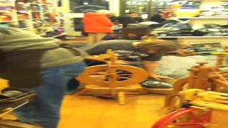 Spinning Wool at Cowgirl Yarn
