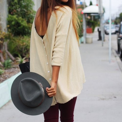Trend alert: wearing clothing backwards (how to wear clothes, cardigan backwards)