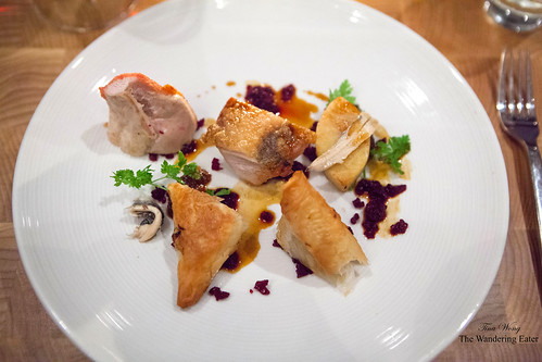 Oven roasted guinea hen, anchovy packages, red beet tartare, parsnip