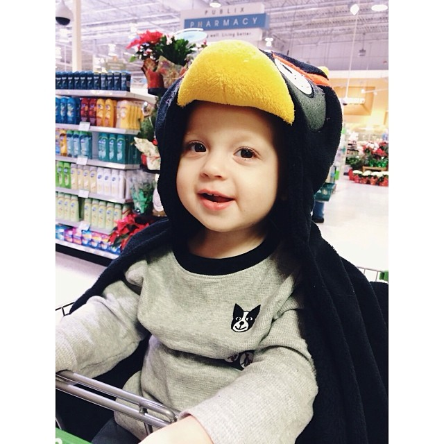 Cutest little #AngryBird ever! When it's 40 degrees out and you need to run into #Publix, you throw a cute hooded angry bird fleece blanket over your #baby to make it quick! He loved it! #pictapgo_app #funnykid #goodtimes #familyvacation #happy