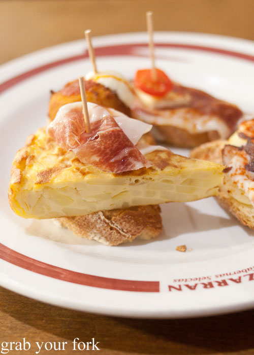Tortilla espanola with jamon pintxos at Lizarran, L'eixample, Barcelona