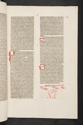 Rubrication including grotesque face  in Bartholomaeus Anglicus: De proprietatibus rerum