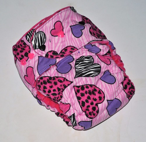 Bumstoppers One Size Hybrid Fitted Zebra Hearts Hot Pink Snap down or  Fold over Rise